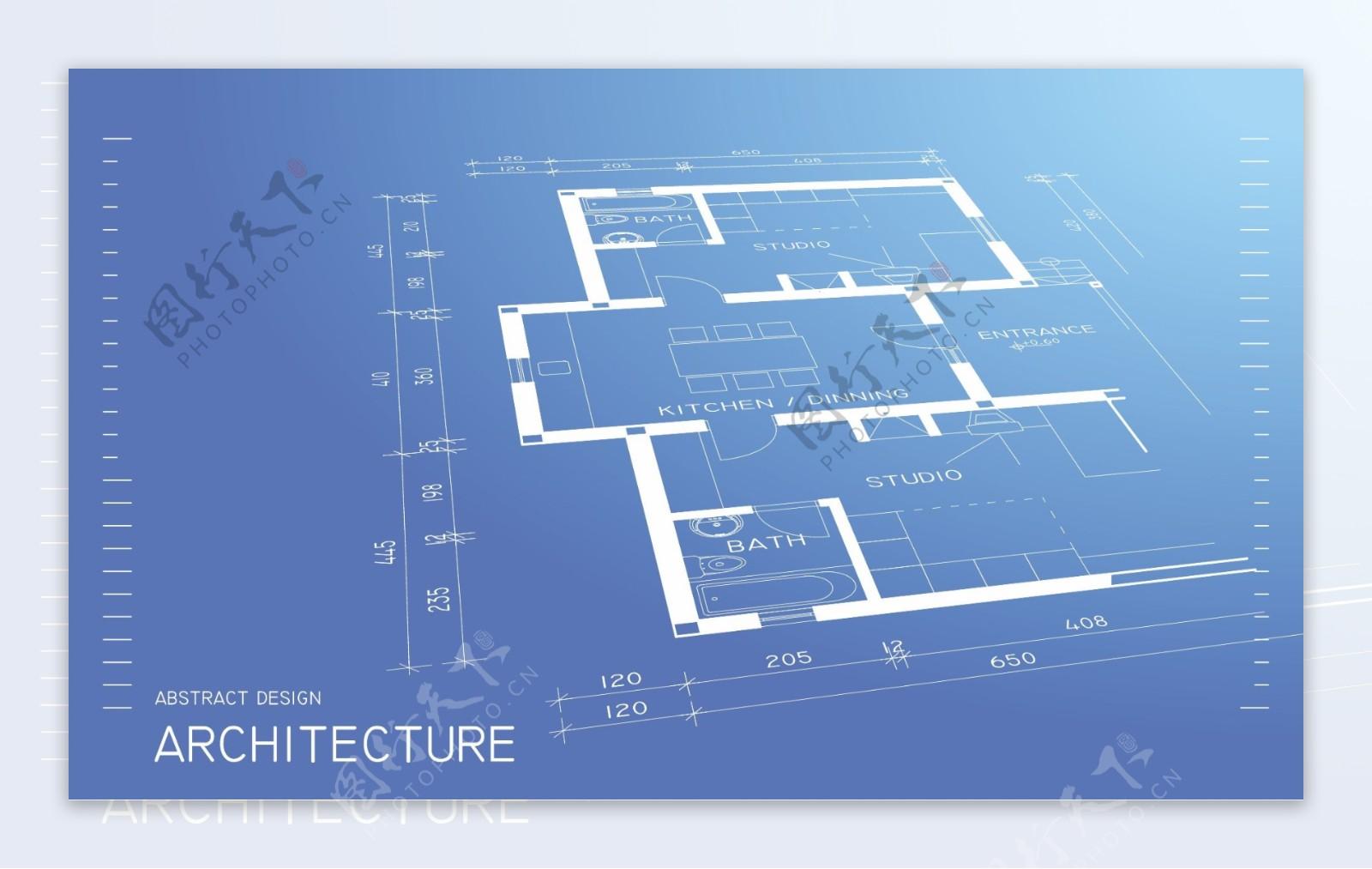 矢量建筑线稿平面图设计
