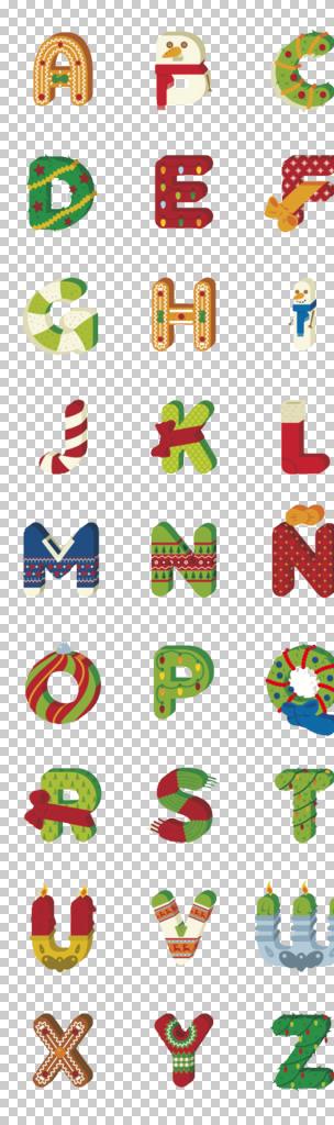 圣诞元素可爱创意字母设计图片