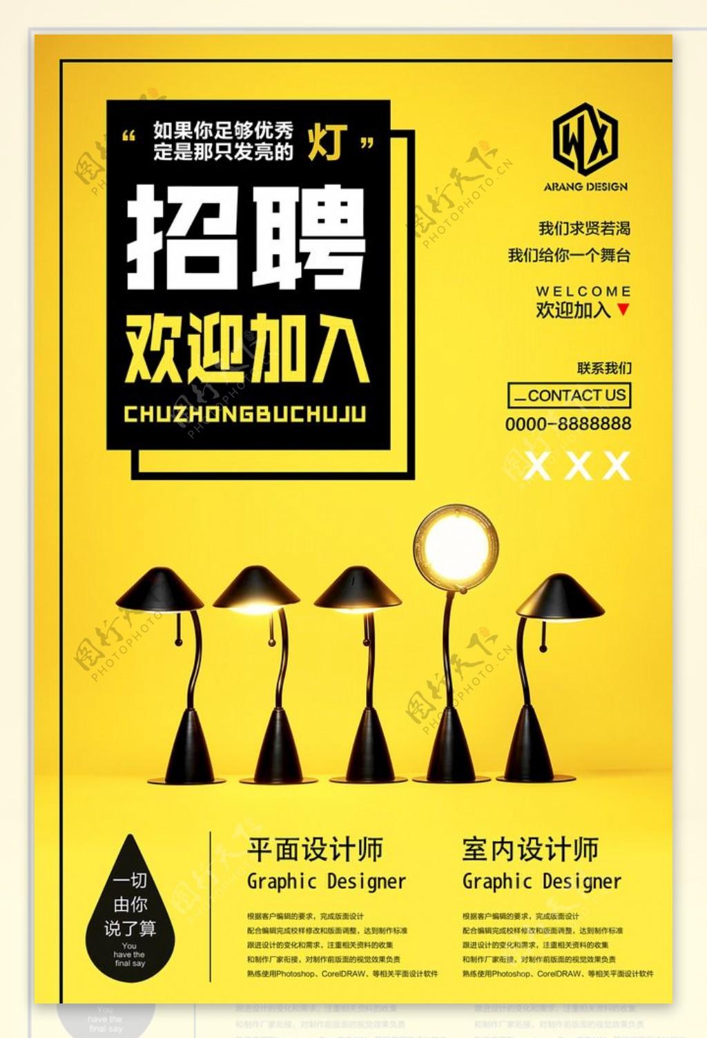 黄色招聘海报背景图片